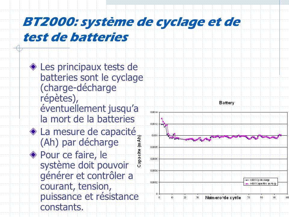 BT2000: système de cyclage et de test de batteries Les principaux tests de batteries sont le cyclage (charge-décharge répètes), éventuellement jusqua