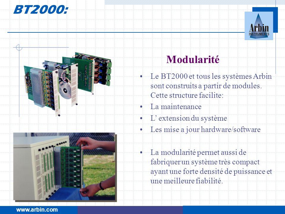 Modularité Le BT2000 et tous les systèmes Arbin sont construits a partir de modules. Cette structure facilite: La maintenance L extension du système L
