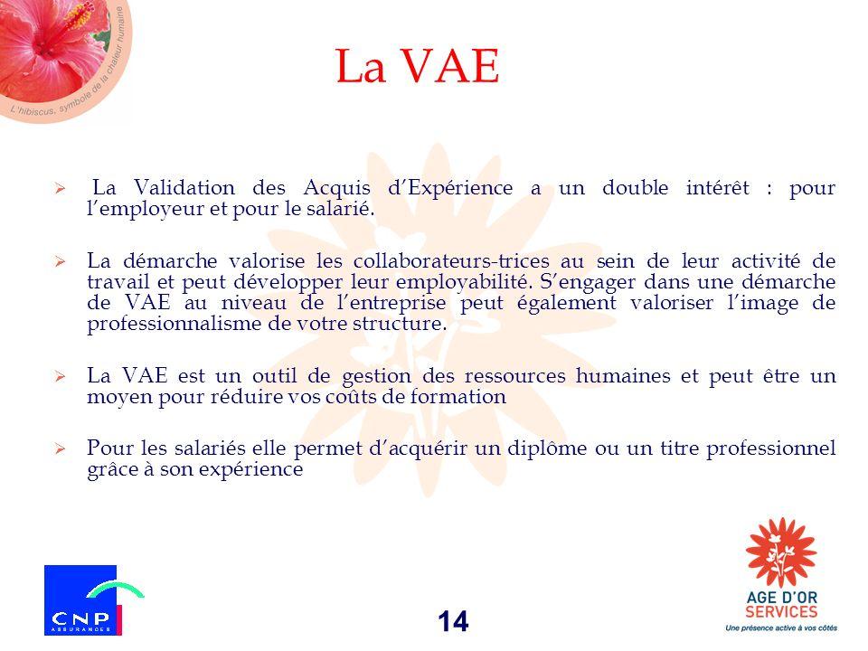 14 La VAE La Validation des Acquis dExpérience a un double intérêt : pour lemployeur et pour le salarié. La démarche valorise les collaborateurs-trice