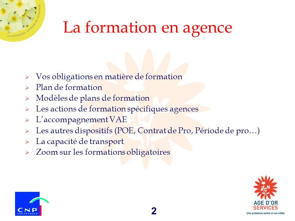 2 La formation en agence Vos obligations en matière de formation Plan de formation Modèles de plans de formation Les actions de formation spécifiques