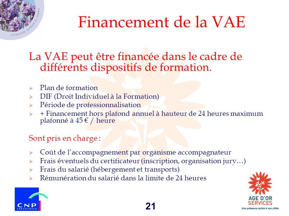 21 Financement de la VAE La VAE peut être financée dans le cadre de différents dispositifs de formation. Plan de formation DIF (Droit Individuel à la