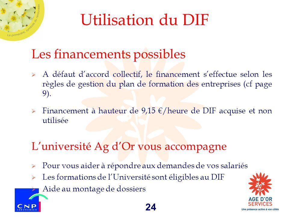24 Utilisation du DIF Les financements possibles A défaut daccord collectif, le financement seffectue selon les règles de gestion du plan de formation