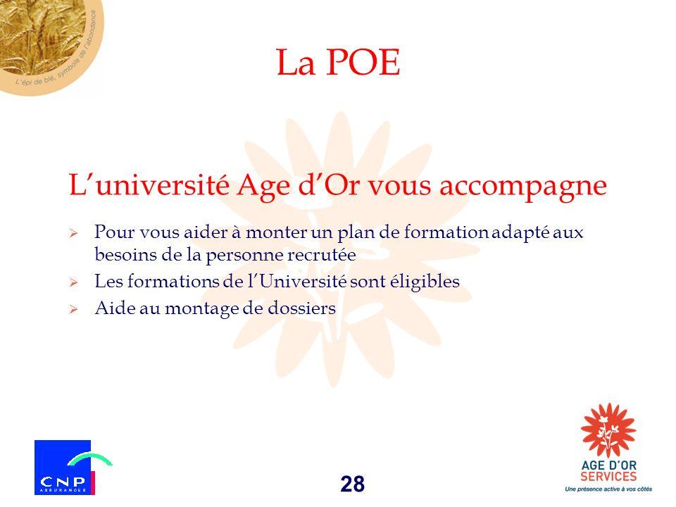 28 La POE Luniversité Age dOr vous accompagne Pour vous aider à monter un plan de formation adapté aux besoins de la personne recrutée Les formations
