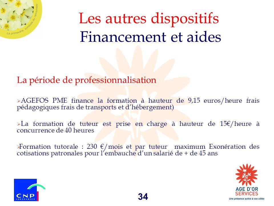 34 Les autres dispositifs Financement et aides La période de professionnalisation AGEFOS PME finance la formation à hauteur de 9,15 euros/heure frais