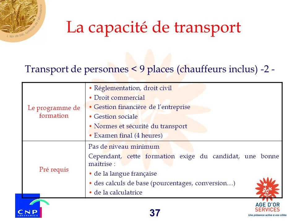 37 Transport de personnes < 9 places (chauffeurs inclus) -2 - La capacité de transport Le programme de formation Réglementation, droit civil Droit com