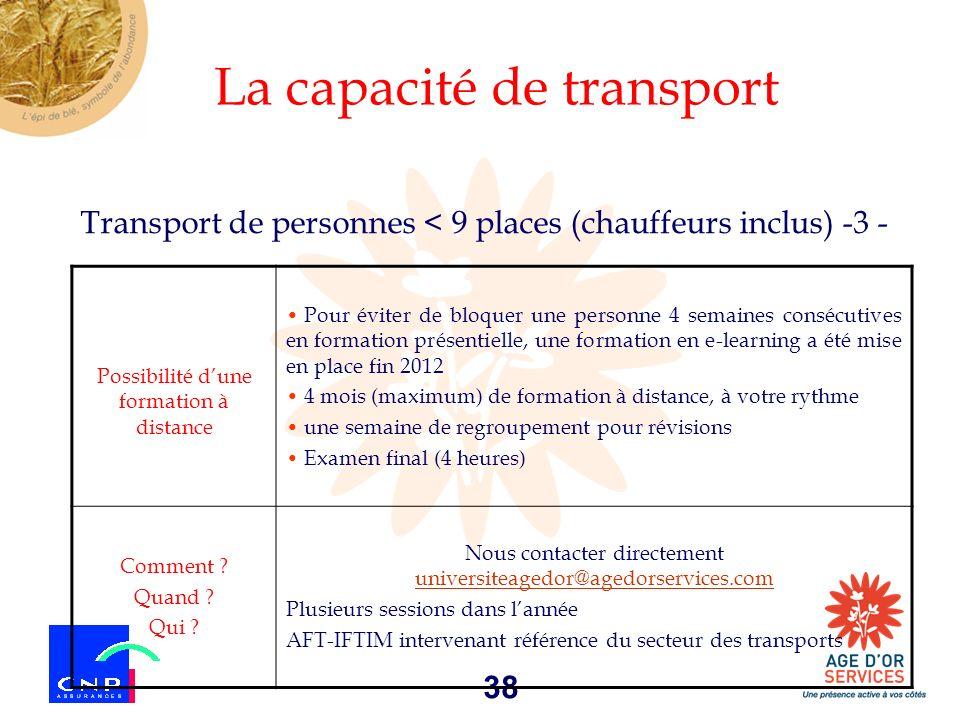 38 Transport de personnes < 9 places (chauffeurs inclus) -3 - La capacité de transport Possibilité dune formation à distance Pour éviter de bloquer un