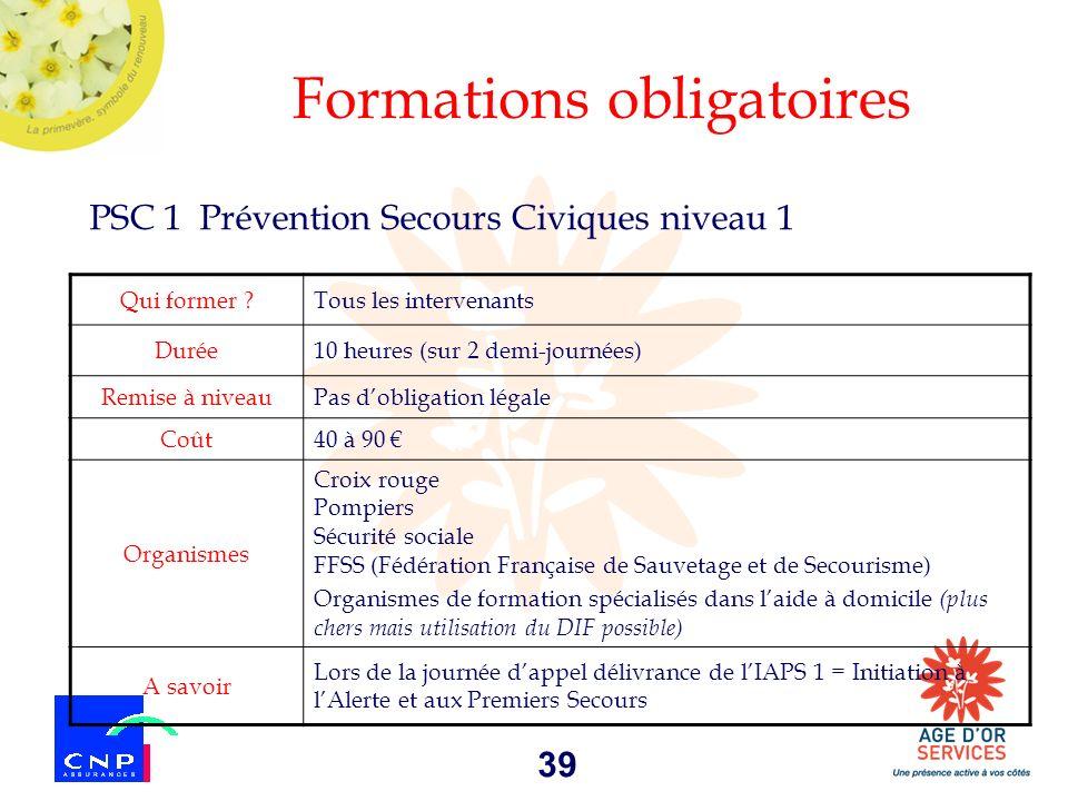 39 Formations obligatoires PSC 1 Prévention Secours Civiques niveau 1 Qui former ?Tous les intervenants Durée10 heures (sur 2 demi-journées) Remise à
