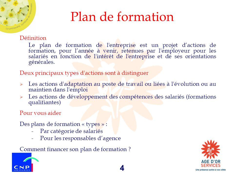 4 Plan de formation Définition Le plan de formation de l'entreprise est un projet dactions de formation, pour lannée à venir, retenues par l'employeur