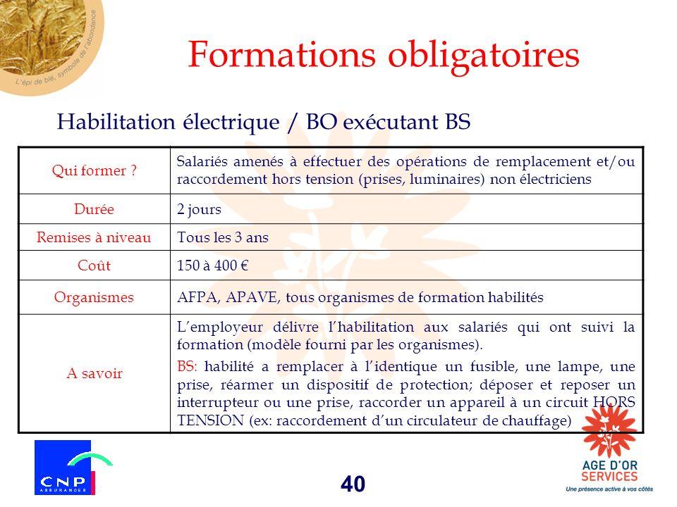 40 Formations obligatoires Habilitation électrique / BO exécutant BS Qui former ? Salariés amenés à effectuer des opérations de remplacement et/ou rac