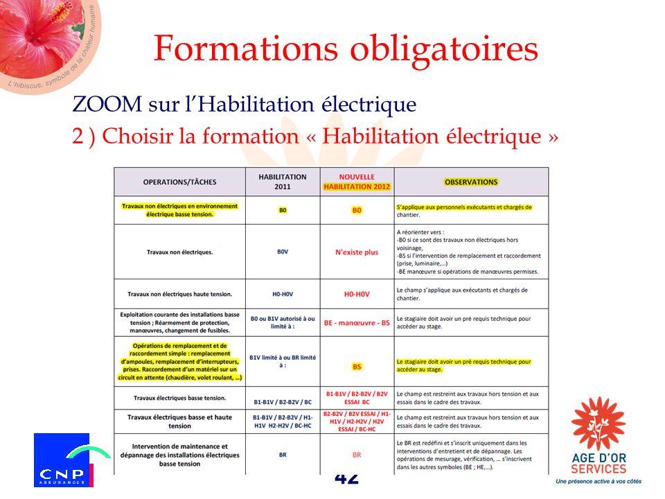 42 Formations obligatoires ZOOM sur lHabilitation électrique 2 ) Choisir la formation « Habilitation électrique »