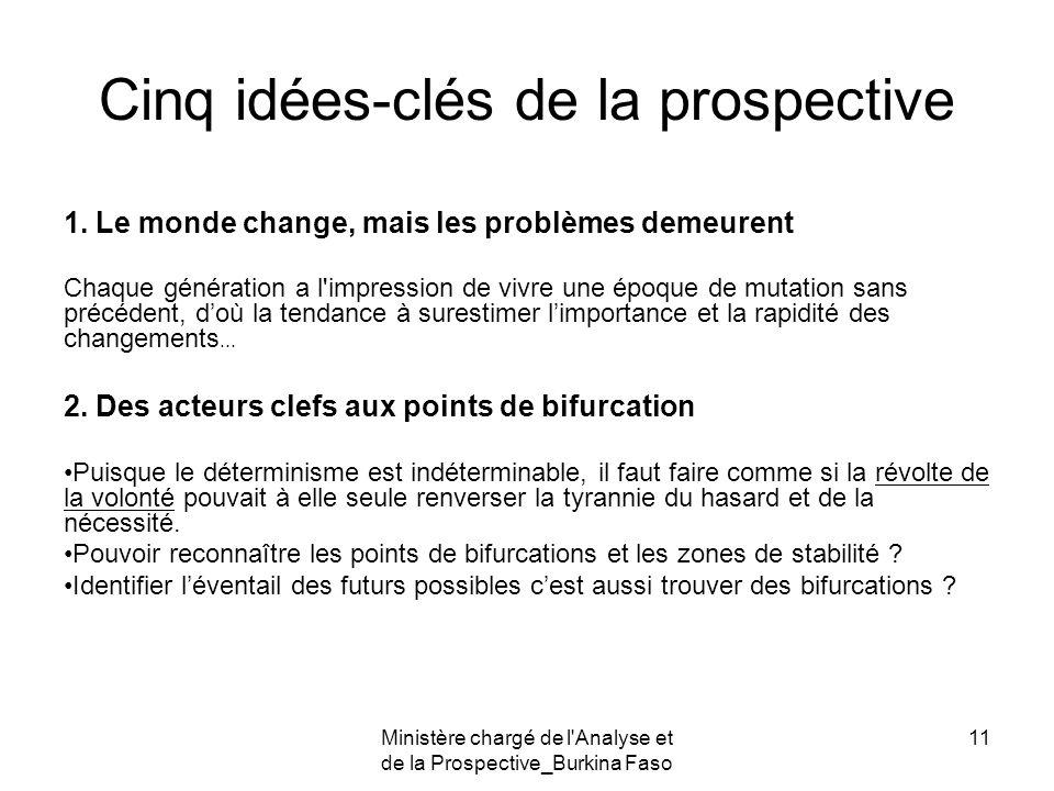 Ministère chargé de l'Analyse et de la Prospective_Burkina Faso 11 Cinq idées-clés de la prospective 1. Le monde change, mais les problèmes demeurent
