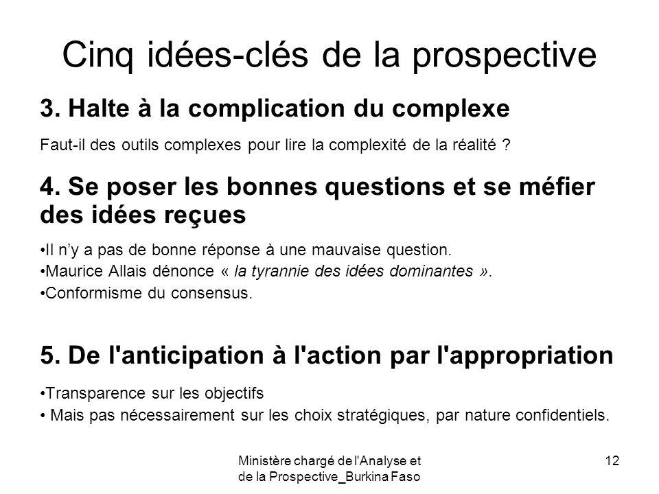 Ministère chargé de l'Analyse et de la Prospective_Burkina Faso 12 Cinq idées-clés de la prospective 3. Halte à la complication du complexe Faut-il de
