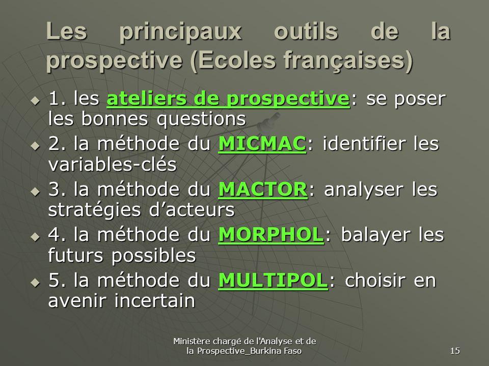 Ministère chargé de l'Analyse et de la Prospective_Burkina Faso 15 Les principaux outils de la prospective (Ecoles françaises) 1. les ateliers de pros