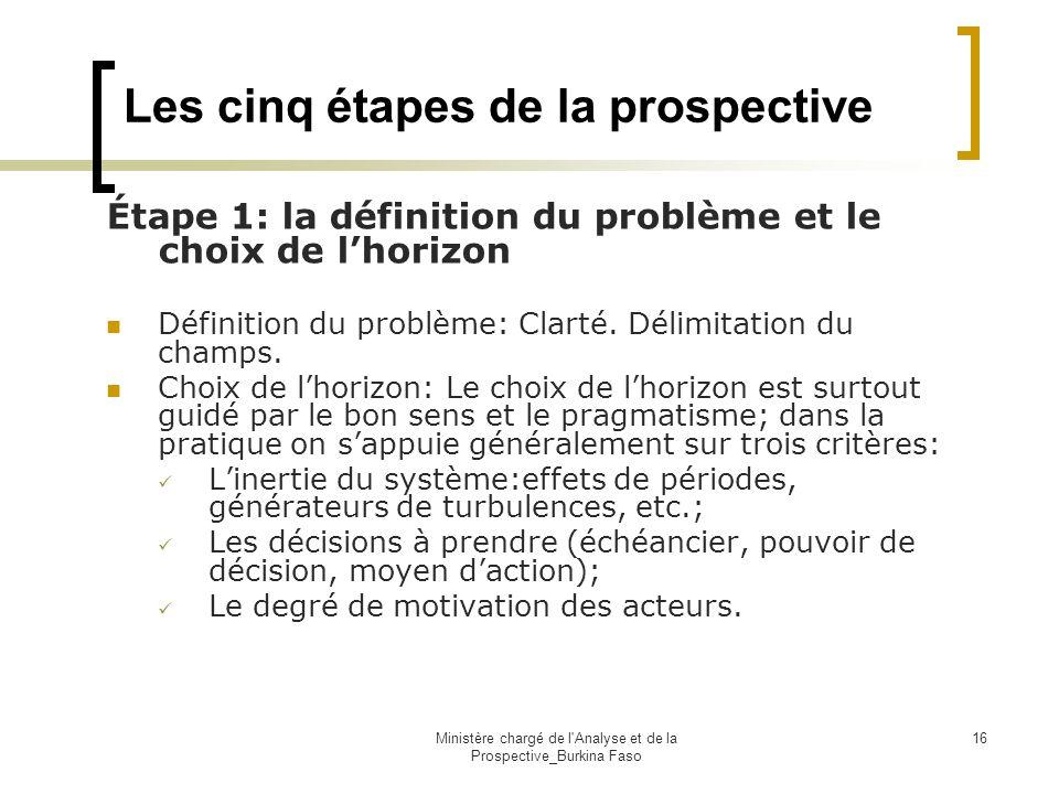 Ministère chargé de l'Analyse et de la Prospective_Burkina Faso 16 Les cinq étapes de la prospective Étape 1: la définition du problème et le choix de