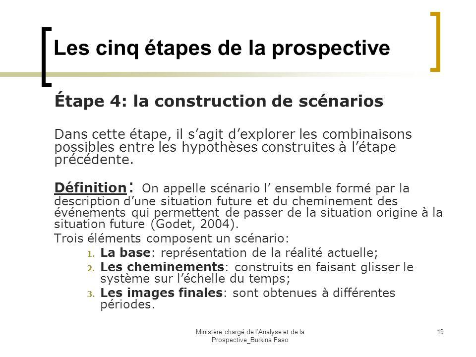 Ministère chargé de l'Analyse et de la Prospective_Burkina Faso 19 Les cinq étapes de la prospective Étape 4: la construction de scénarios Dans cette