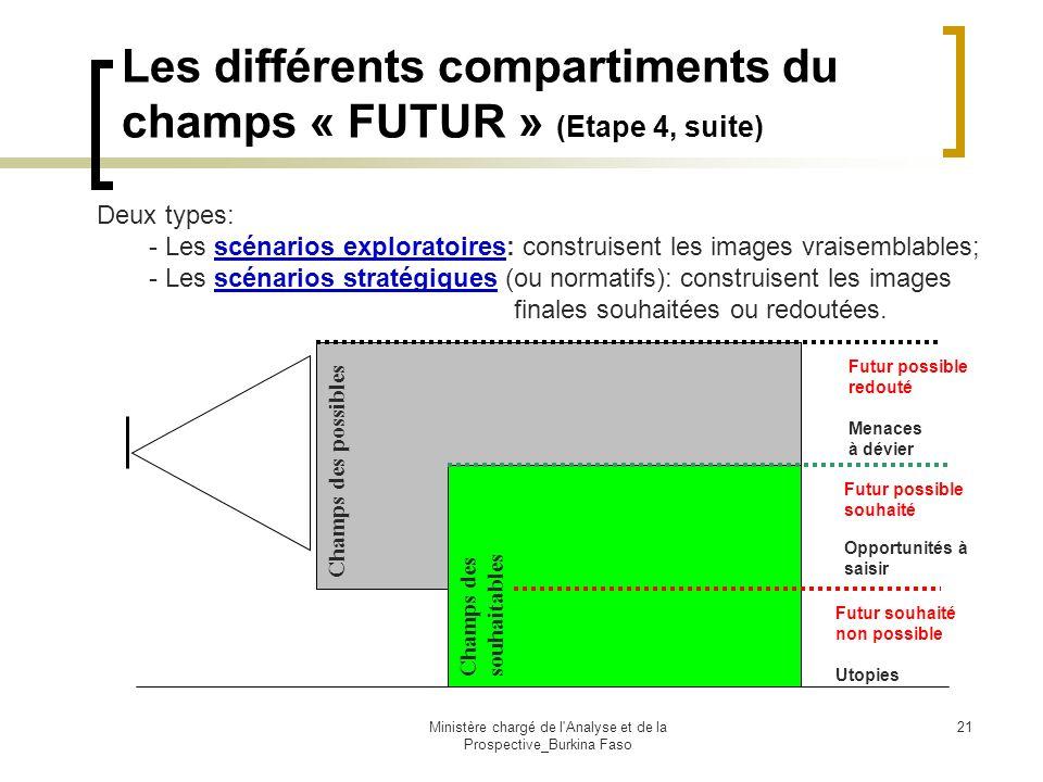 Ministère chargé de l'Analyse et de la Prospective_Burkina Faso 21 Les différents compartiments du champs « FUTUR » (Etape 4, suite) Champs des possib