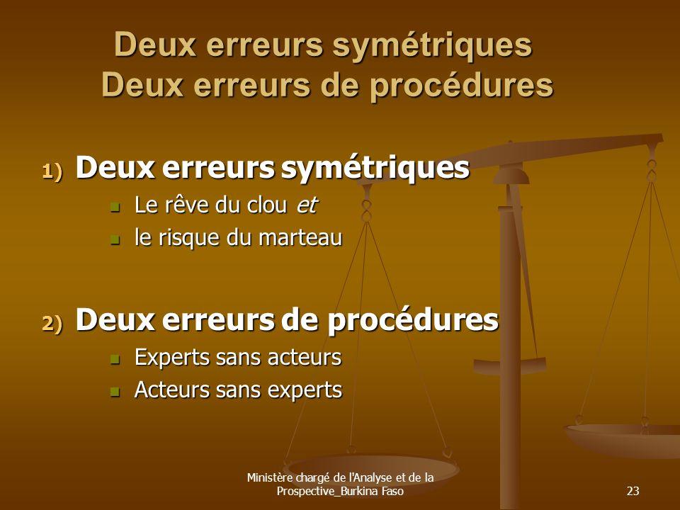 Ministère chargé de l'Analyse et de la Prospective_Burkina Faso23 Deux erreurs symétriques Deux erreurs de procédures 1) Deux erreurs symétriques Le r