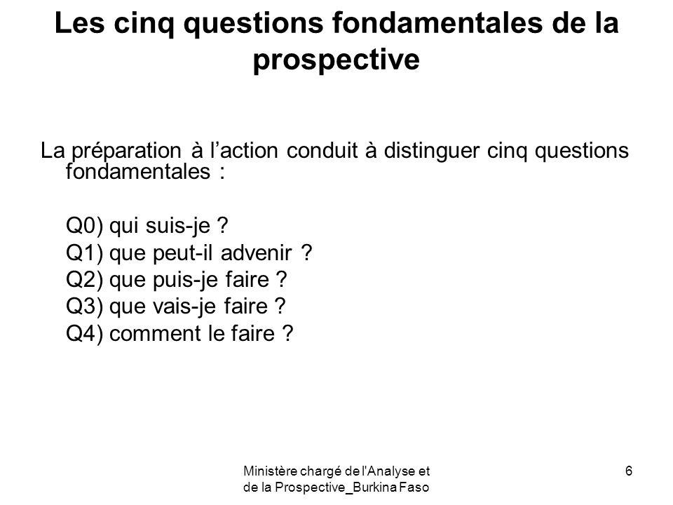 Ministère chargé de l'Analyse et de la Prospective_Burkina Faso 6 Les cinq questions fondamentales de la prospective La préparation à laction conduit