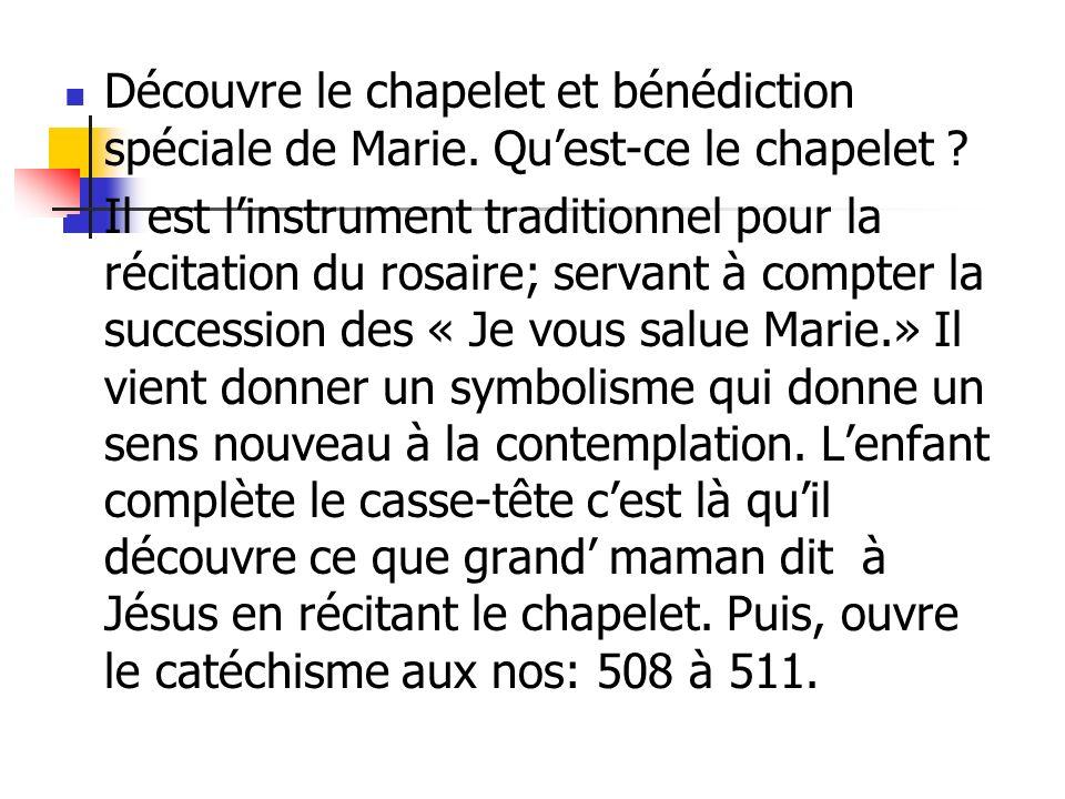 Découvre le chapelet et bénédiction spéciale de Marie. Quest-ce le chapelet ? Il est linstrument traditionnel pour la récitation du rosaire; servant à