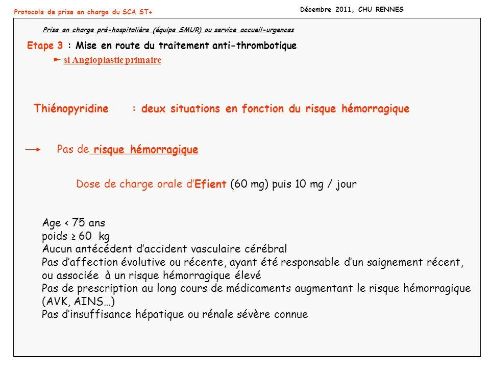 Protocole de prise en charge du SCA ST+ Décembre 2011, CHU RENNES Prise en charge pré-hospitalière (équipe SMUR) ou service accueil-urgences Etape 3 :