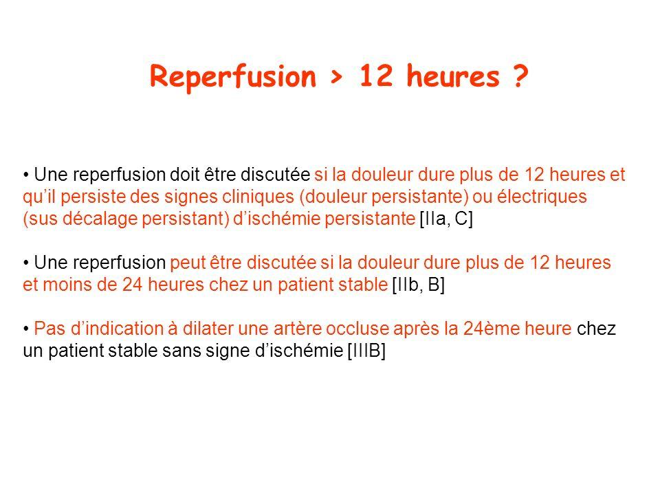 Reperfusion > 12 heures ? Une reperfusion doit être discutée si la douleur dure plus de 12 heures et quil persiste des signes cliniques (douleur persi