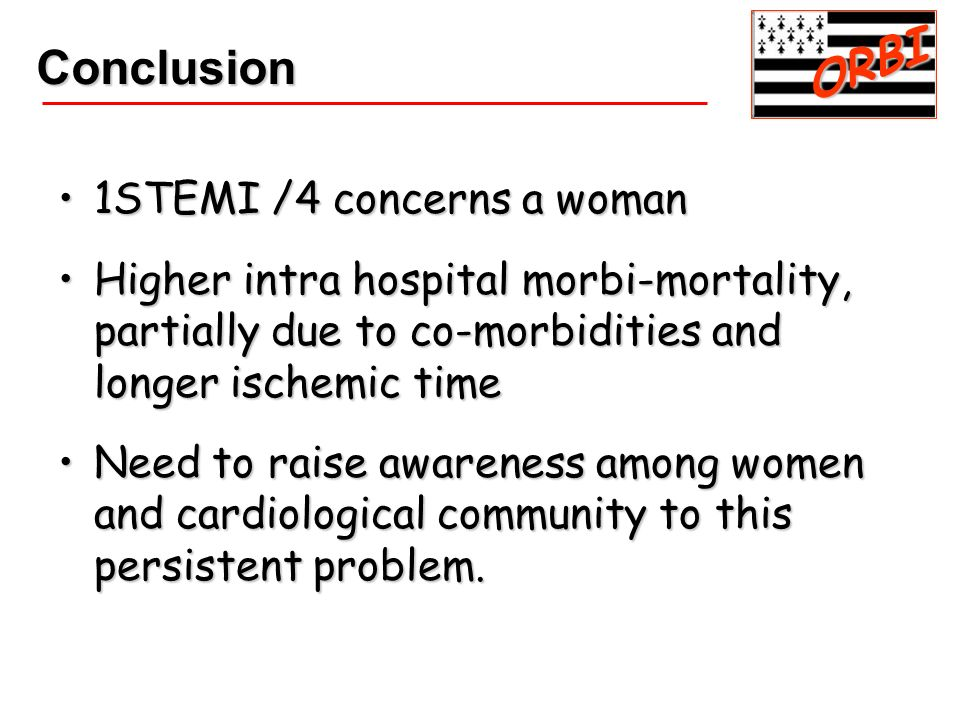 1STEMI /4 concerns a woman1STEMI /4 concerns a woman Higher intra hospital morbi-mortality, partially due to co-morbidities and longer ischemic timeHi
