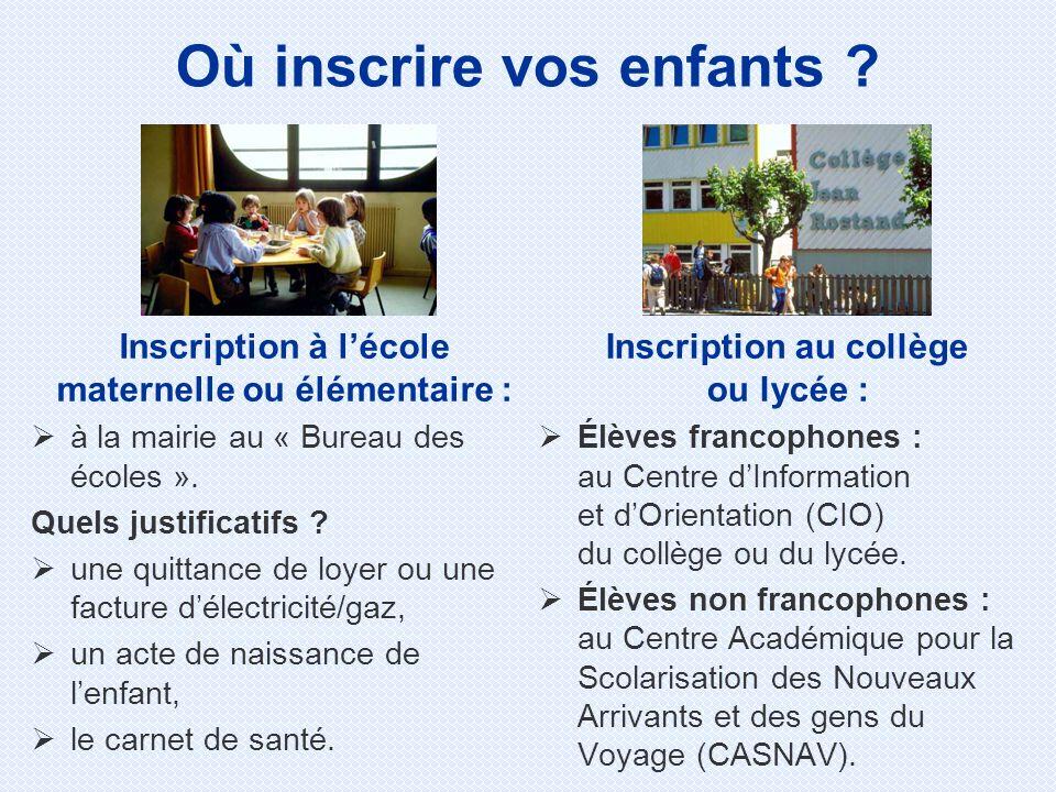Inscription à lécole maternelle ou élémentaire : à la mairie au « Bureau des écoles ».