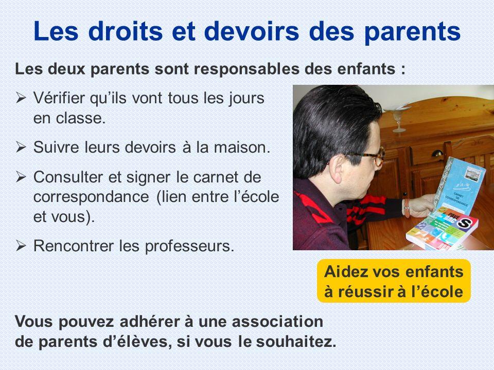 Les droits et devoirs des parents Vérifier quils vont tous les jours en classe. Suivre leurs devoirs à la maison. Consulter et signer le carnet de cor