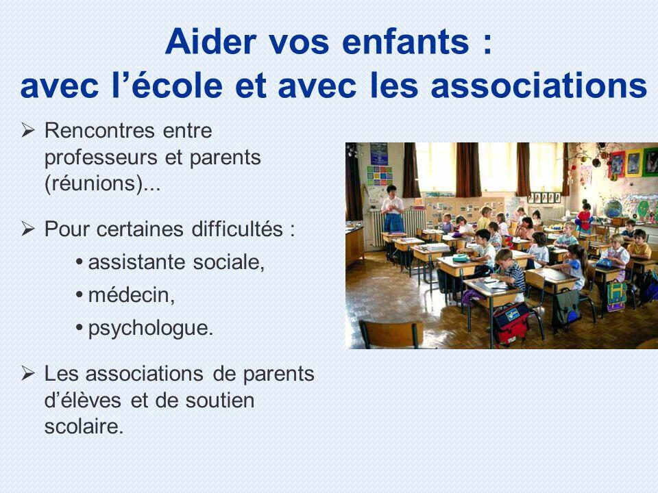 Rencontres entre professeurs et parents (réunions)... Pour certaines difficultés : assistante sociale, médecin, psychologue. Les associations de paren
