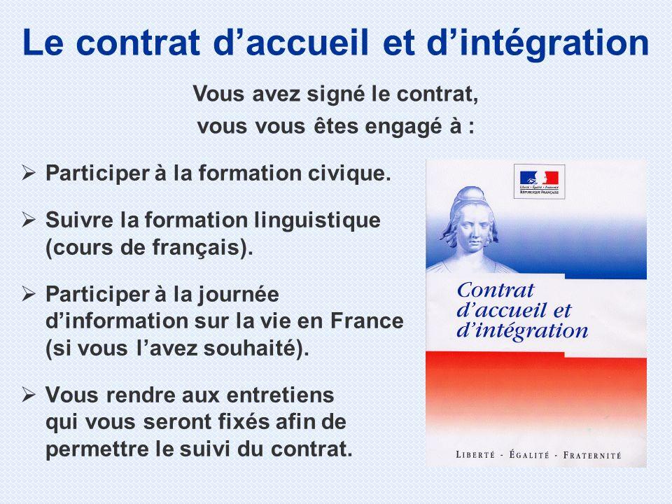 Participer à la formation civique. Suivre la formation linguistique (cours de français). Participer à la journée dinformation sur la vie en France (si