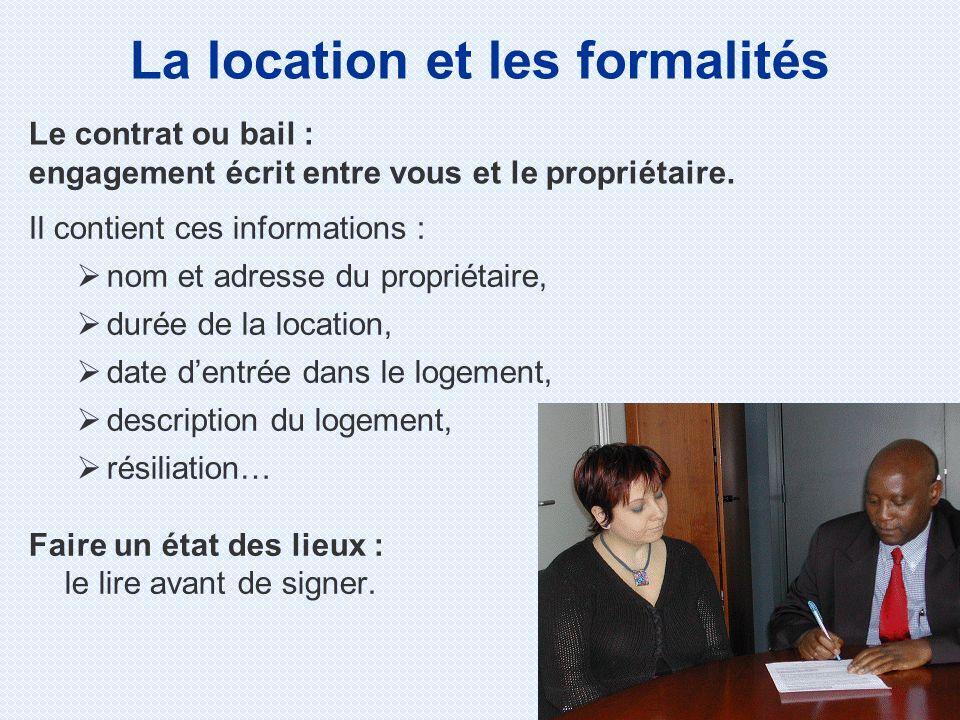 Il contient ces informations : nom et adresse du propriétaire, durée de la location, date dentrée dans le logement, description du logement, résiliati