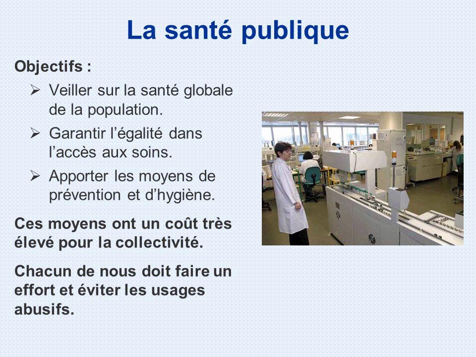 Objectifs : Veiller sur la santé globale de la population. Garantir légalité dans laccès aux soins. Apporter les moyens de prévention et dhygiène. Ces