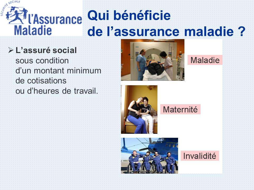 Lassuré social sous condition dun montant minimum de cotisations ou dheures de travail. Qui bénéficie de lassurance maladie ?