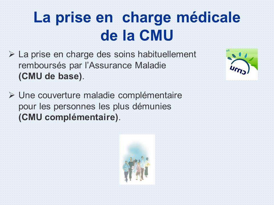 La prise en charge des soins habituellement remboursés par lAssurance Maladie (CMU de base). Une couverture maladie complémentaire pour les personnes