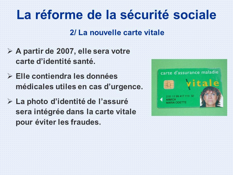 La réforme de la sécurité sociale 2/ La nouvelle carte vitale A partir de 2007, elle sera votre carte didentité santé. Elle contiendra les données méd