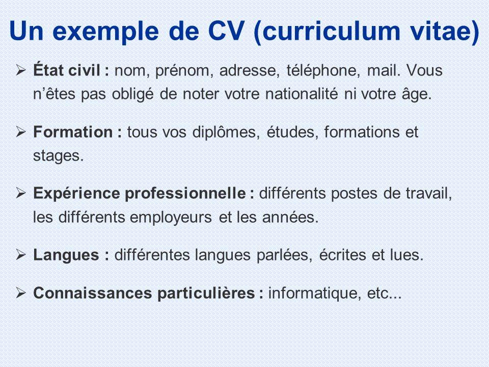 État civil : nom, prénom, adresse, téléphone, mail.