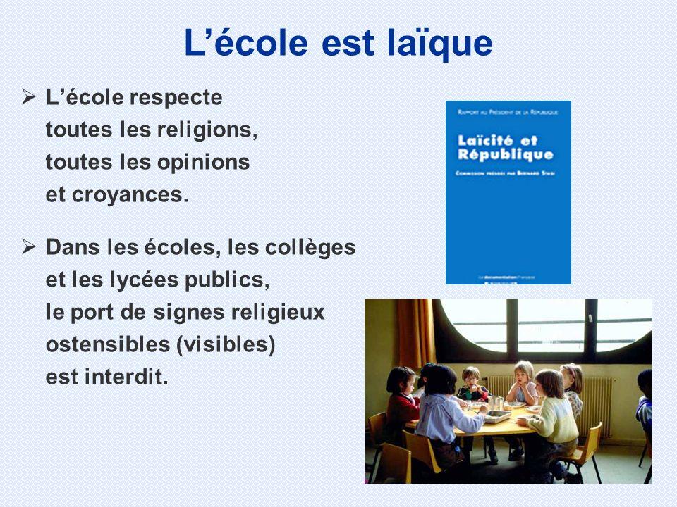 Lécole respecte toutes les religions, toutes les opinions et croyances. Dans les écoles, les collèges et les lycées publics, le port de signes religie