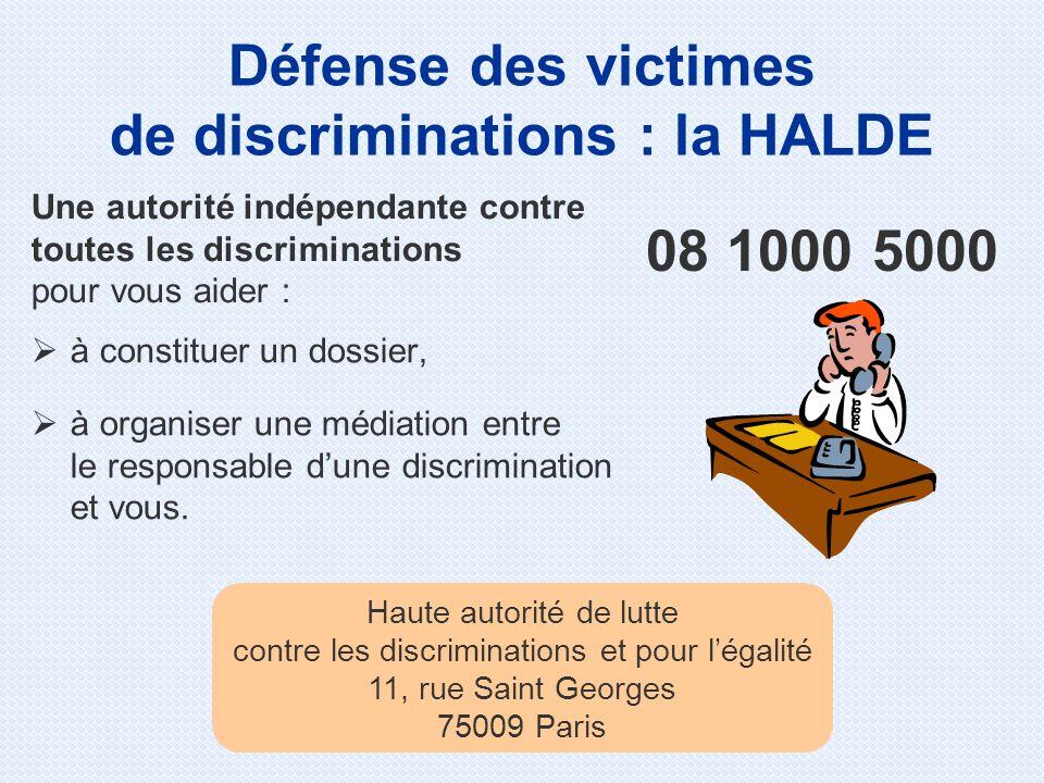 à constituer un dossier, à organiser une médiation entre le responsable dune discrimination et vous. 08 1000 5000 Défense des victimes de discriminati