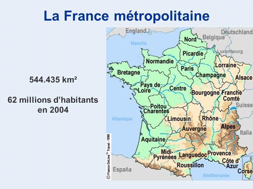 544.435 km² 62 millions dhabitants en 2004 La France métropolitaine