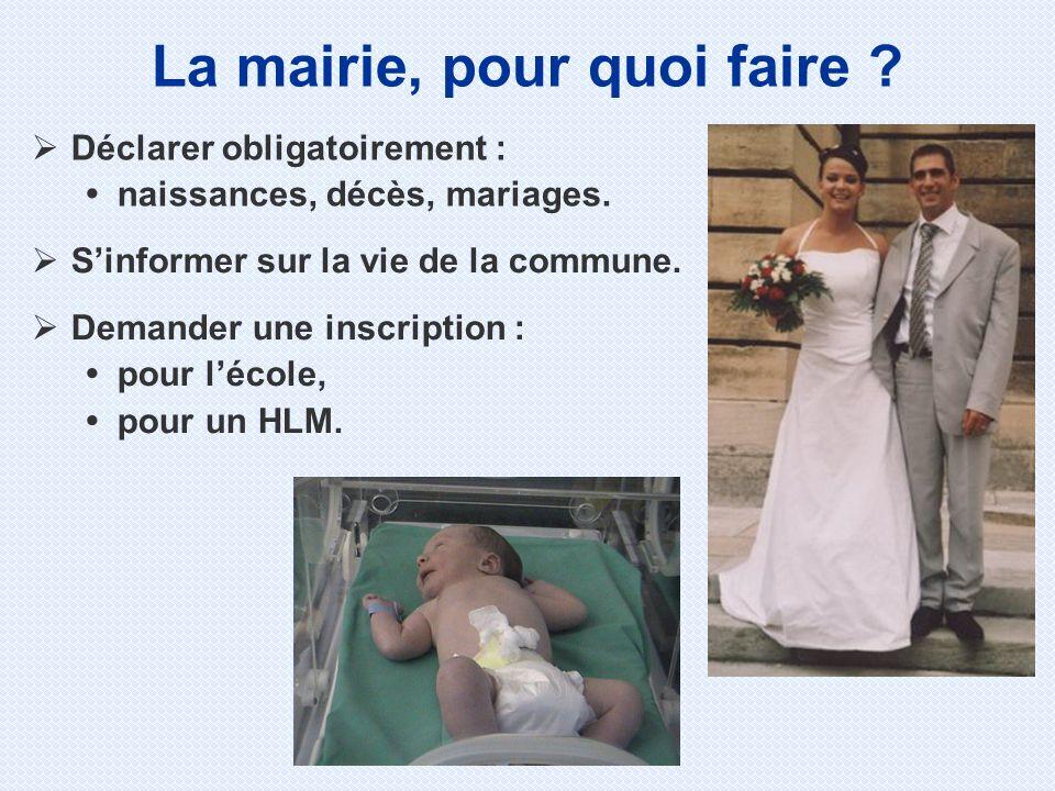 Déclarer obligatoirement : naissances, décès, mariages. La mairie, pour quoi faire ? Sinformer sur la vie de la commune. Demander une inscription : po