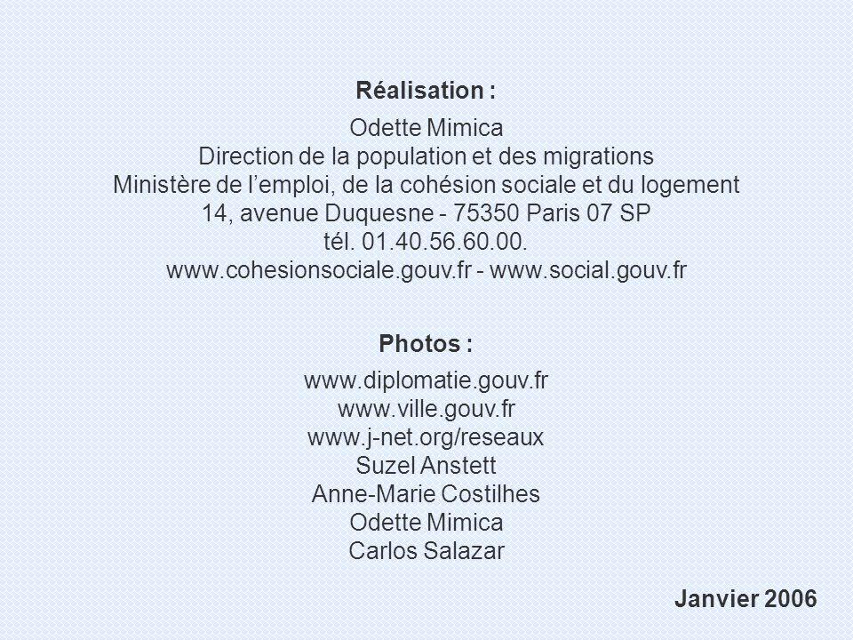 Réalisation : Odette Mimica Direction de la population et des migrations Ministère de lemploi, de la cohésion sociale et du logement 14, avenue Duquesne - 75350 Paris 07 SP tél.