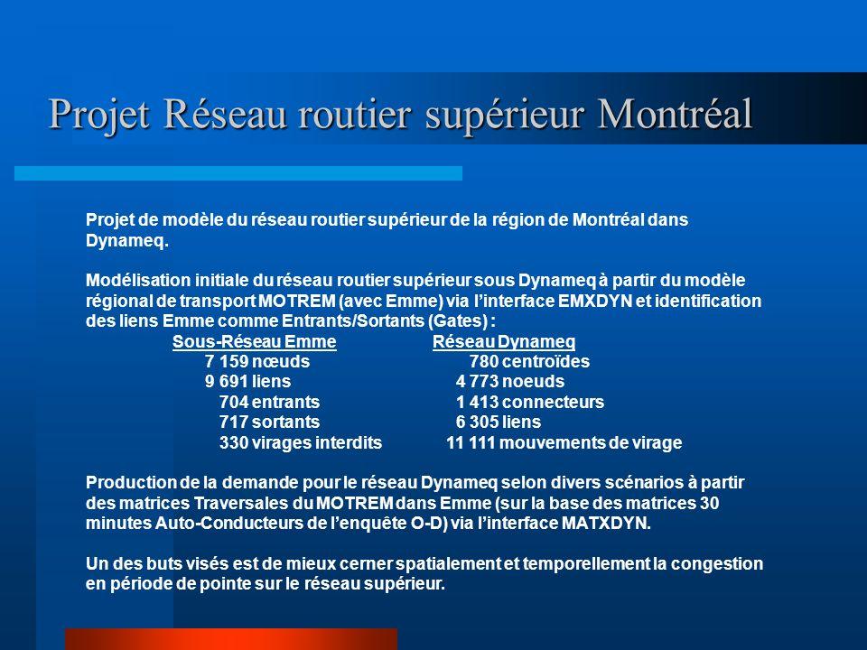 Projet Réseau routier supérieur Montréal Projet de modèle du réseau routier supérieur de la région de Montréal dans Dynameq. Modélisation initiale du