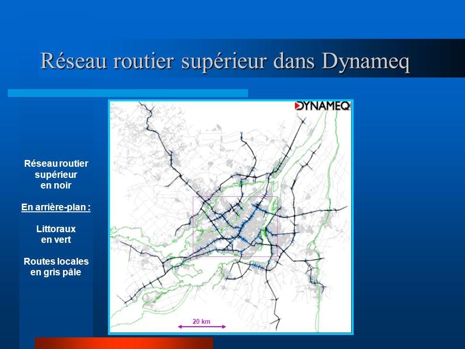 Réseau routier supérieur dans Dynameq Réseau routier supérieur en noir En arrière-plan : Littoraux en vert Routes locales en gris pâle 20 km