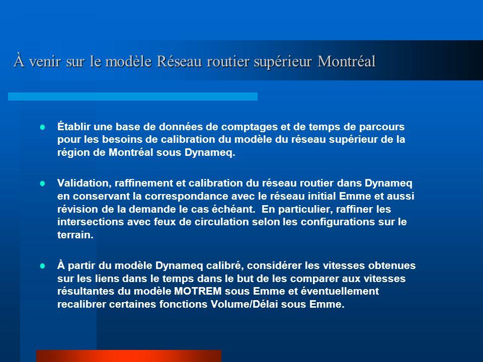 Établir une base de données de comptages et de temps de parcours pour les besoins de calibration du modèle du réseau supérieur de la région de Montréa