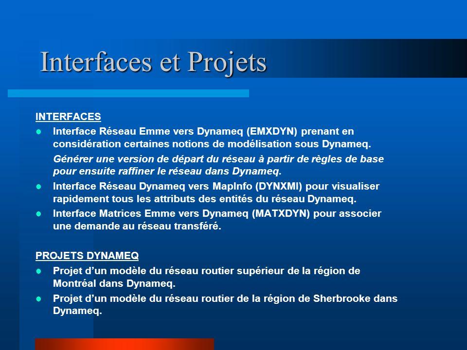 Interfaces et Projets INTERFACES Interface Réseau Emme vers Dynameq (EMXDYN) prenant en considération certaines notions de modélisation sous Dynameq.