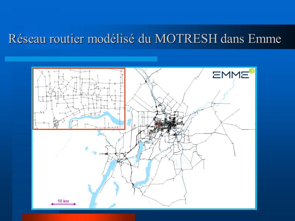 Réseau routier modélisé du MOTRESH dans Emme 10 km