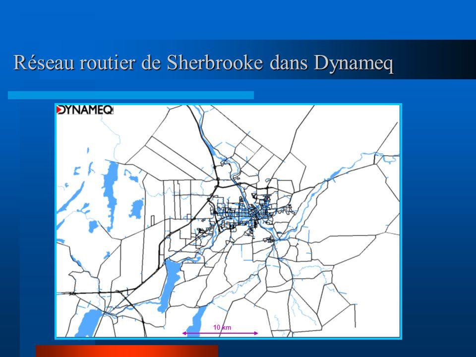 Réseau routier de Sherbrooke dans Dynameq 10 km