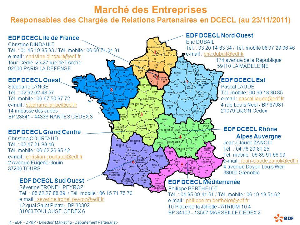 5 EDF - DP&P - Direction Marketing - Département Partenariat - Responsables Partenariats Grands Comptes (31/03/2011) EDF DCPP Île de France Stéphane DECARRIERE Tél.