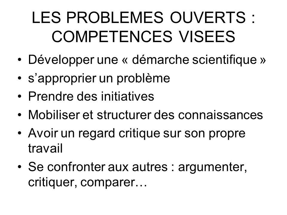 LES PROBLEMES OUVERTS : COMPETENCES VISEES Développer une « démarche scientifique » sapproprier un problème Prendre des initiatives Mobiliser et struc