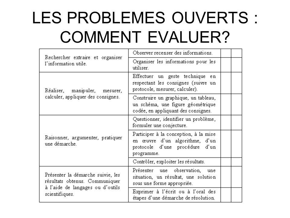LES PROBLEMES OUVERTS : COMMENT EVALUER?